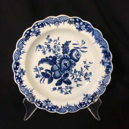 Worcester 'Pinecone' pattern blue & white plate, c.1780 -0