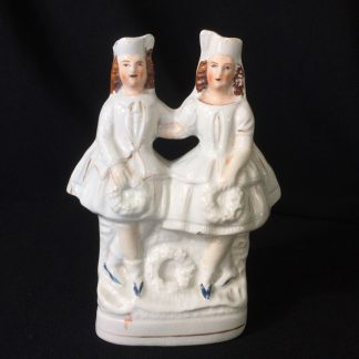 Staffordshire pottery group of kilted dancers, c.1860-0