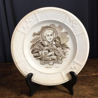 Staffordshire Pottery child's plate, 'Christmas Presents' print, c. 1870-0