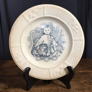 Staffordshire Pottery child's plate, 'Pretty Carlo' dog print, c. 1870-0