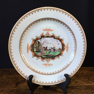 Chinese export plate with Meissen style cartouche landscape, c.1730-0