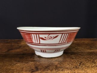Chinese Swatow Ware bowl, red hatched border, Ming Dynasty 17th century-0
