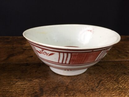Chinese Swatow Ware bowl, red hatched border, Ming Dynasty 17th century-23674