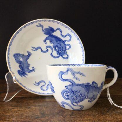 Wedgwood bone china cup and saucer, Chinese foo dog prints, C. 1815 -0