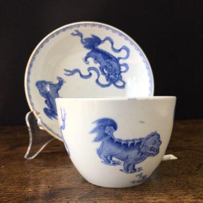 Wedgwood bone china cup and saucer, Chinese foo dog prints, C. 1815 -23597