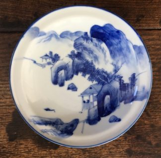 Japanese blue & white scenic plate, 19th century-0