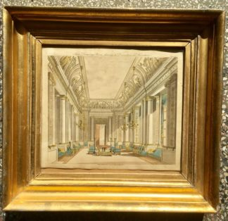 Smith, George: 'State Drawing Room' design print, Neoclassical interior 1808 -0