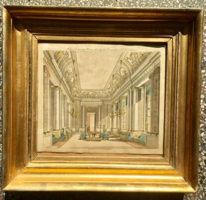 Smith, George: 'State Drawing Room' design print, Neoclassical interior 1808 -23395
