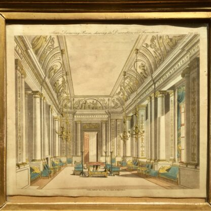 Smith, George: 'State Drawing Room' design print, Neoclassical interior 1808 -23394