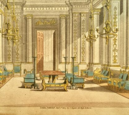 Smith, George: 'State Drawing Room' design print, Neoclassical interior 1808 -23396