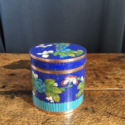 Cloisonné lidded box, flower design, c.1900-0