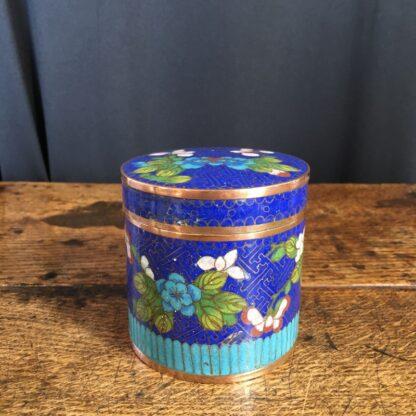 Cloisonné lidded box, flower design, c.1900-23322