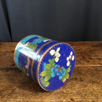 Cloisonné lidded box, flower design, c.1900-23321