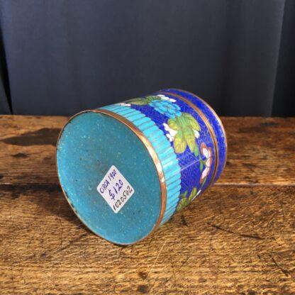 Cloisonné lidded box, flower design, c.1900-23323