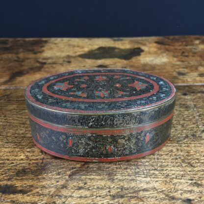 Indian brass oval box, fine incised & enamelled flowers, c. 1900-23759