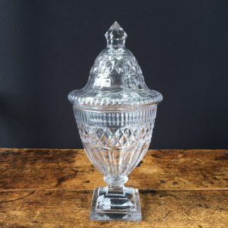 Georgian cut glass dessert table urn, c.1810.-0