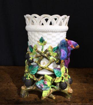 Volksted porcelain basket vase with bird, c.1880-0