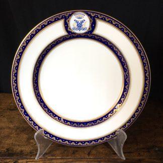 Wedgwood armorial plate, Viscount crown & 'GM de H' c.1891-1900-0
