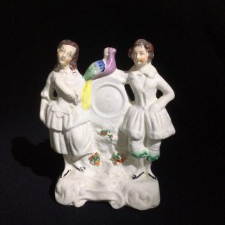 Staffordshire pottery clock group of dancing couple, c.1860-0