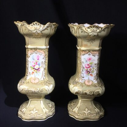 Early pair of Victorian porcelain square vases, c.1840-24083