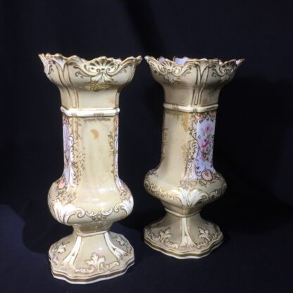 Early pair of Victorian porcelain square vases, c.1840-24081