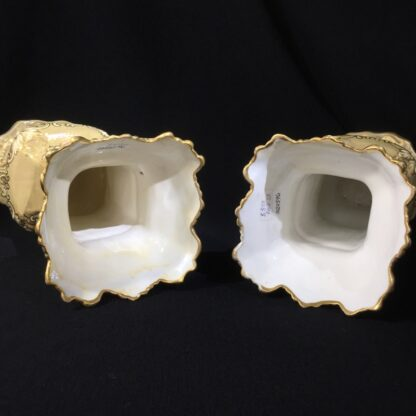 Early pair of Victorian porcelain square vases, c.1840-24084