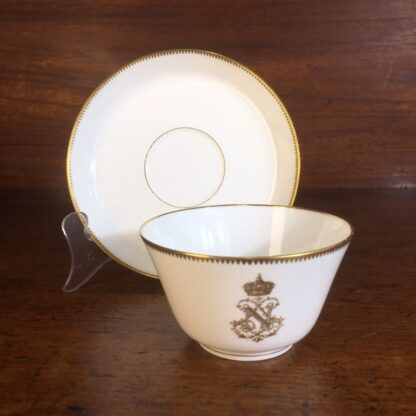Napoleon III cup & saucer, Gilt 'N', dated 1876 -0