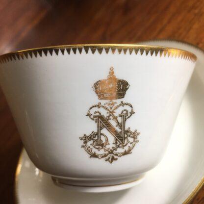 Napoleon III cup & saucer, Gilt 'N', dated 1876 -24296