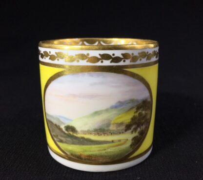 Derby yellow ground coffee can, pat. 531 Landscape by 'Jockey' Hill, c. 1795-25540