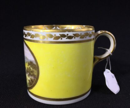 Derby yellow ground coffee can, pat. 531 Landscape by 'Jockey' Hill, c. 1795-25536