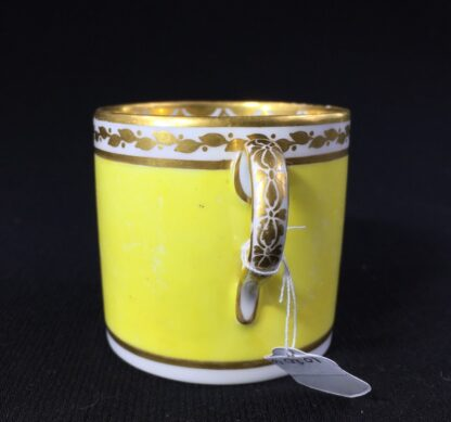 Derby yellow ground coffee can, pat. 531 Landscape by 'Jockey' Hill, c. 1795-25537