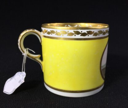 Derby yellow ground coffee can, pat. 531 Landscape by 'Jockey' Hill, c. 1795-25535