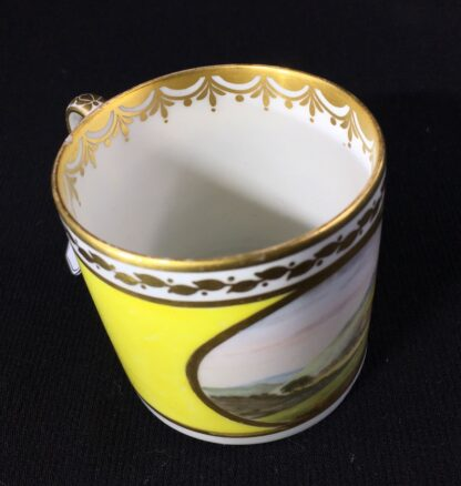 Derby yellow ground coffee can, pat. 531 Landscape by 'Jockey' Hill, c. 1795-25543
