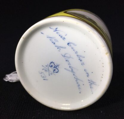 Derby yellow ground coffee can, pat. 531 Landscape by 'Jockey' Hill, c. 1795-25538