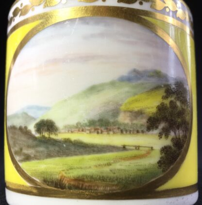 Derby yellow ground coffee can, pat. 531 Landscape by 'Jockey' Hill, c. 1795-0