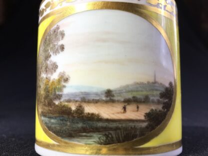 Derby yellow ground coffee can, pat. 531 Landscape by Jockey Hill, c. 1795-25533