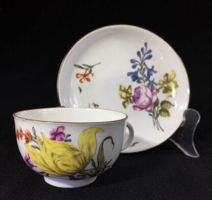 Meissen cup & saucer, deutschblumen flowers, c. 1740-0