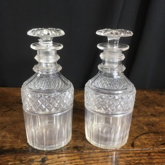 Pair of English Georgian glass decanters, c.1810. -0