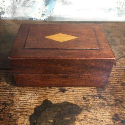 Australian cedar box, inlaid panel, mid 19th C -24649