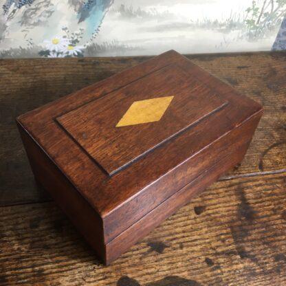 Australian cedar box, inlaid panel, mid 19th C -0