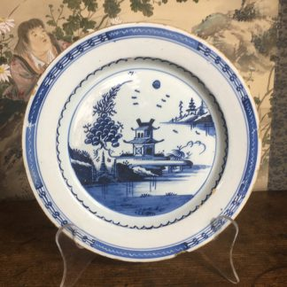 London delft plate, Chinese Pagoda, c. 1770-0