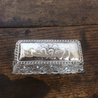 Silver top rectangular dressing table box, Angel pattern, Birmingham 1904-0