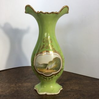 Samuel Alcock vase, green ground with scenic panel, c.1835-0