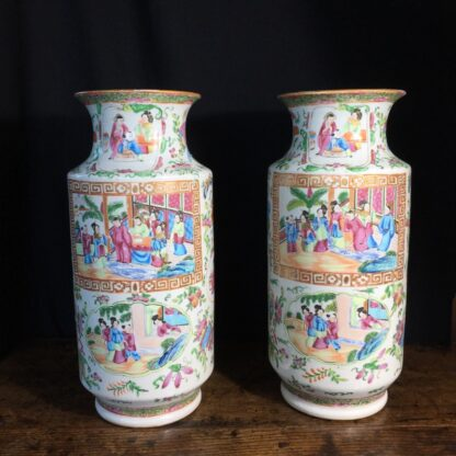 Pair of large Cantonese vases with colourful enamels, c.1860 -0
