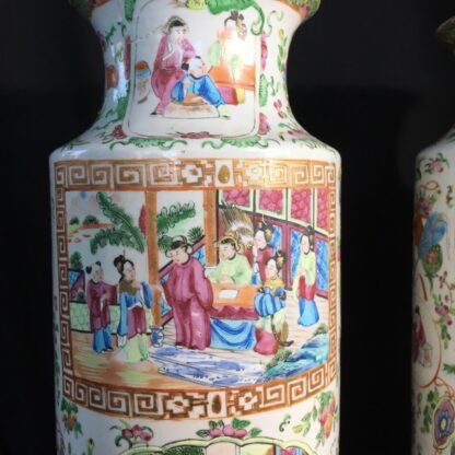Pair of large Cantonese vases with colourful enamels, c.1860 -24714