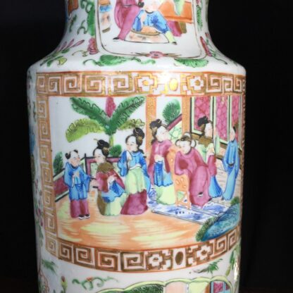 Pair of large Cantonese vases with colourful enamels, c.1860 -24715