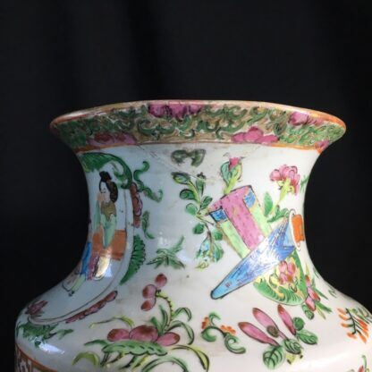 Pair of large Cantonese vases with colourful enamels, c.1860 -24719