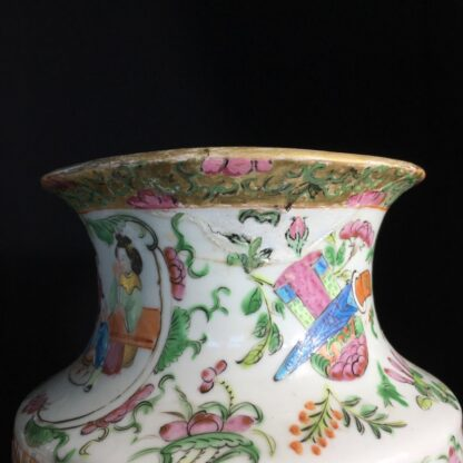 Pair of large Cantonese vases with colourful enamels, c.1860 -24718