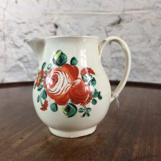 Creamware milk jug with rose pattern, C. 1765 -0
