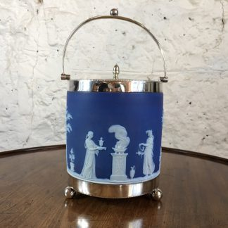 Wedgwood Blue Jasper biscuit barrel with plated mount, c.1880-0